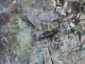 lowres Obbligato1 2012 30x36 oil painting with mixed media pigment transfers collage on canvas