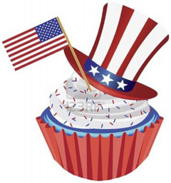 cupcake 4th-of-july-independence-day-red-white-and-blue-cupcake-with-usa-flags-and-hat-illustration