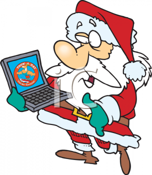 santa claus wearing his red and white suit holding a laptop computer