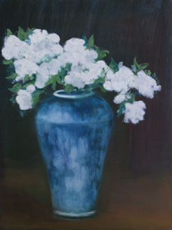 Sat-May24-TAG-Ransohoff Joan AppleBlossomsInAChineseVase OilOnCanvas 24x18in unframed
