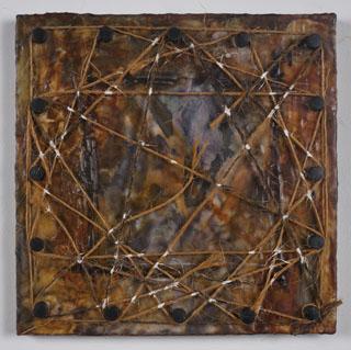 TAG-Hurst Brenda FrayedFaith Encausticwooddowels jute paper acrylic woodboard 12x12x1in. 2013