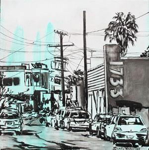 AbbotKinney2-byBrookeHarker-24x24ink-acrylic-canvas2013