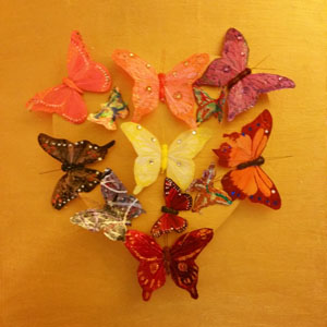 SonaMirzaei-Myheartfluttersforyou-16x24-2015-3dwoodenheart-butterflies-acrylic-mixedmedia-on-canvas
