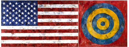 Flag-1967-encausticandcollageoncanvas-threepanels-Target-1961-Encausticandcollageoncanvas-JasperJohns