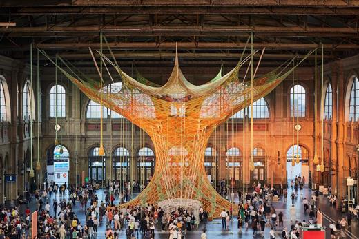 Sept14-2019-520Size-TanyaBonakdarGallery-Ernesto Neto-InstallationviewofGaiaMotherTree-ZurichTrainStation-FondationBeyeler-Switzerland-2018-Photo-MarkNiedermann